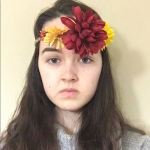 Flower crown/headband- red yellow and orange